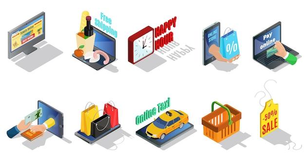 Izometryczna kolekcja elementów e-commerce z zakupem online taksówka rabaty bezpłatnej dostawy torby na zakupy kosz metka z ceną na białym tle