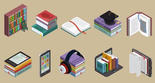 Izometryczna kolekcja kolorowych książek z literaturą edukacyjną na półce i ebookami na różnych urządzeniach na białym tle