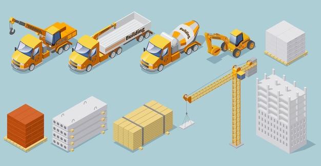 Izometryczna kolekcja konstrukcji przemysłowych z materiałami budowlanymi dźwig betoniarka ciężkie ciężarówki mini koparka na białym tle