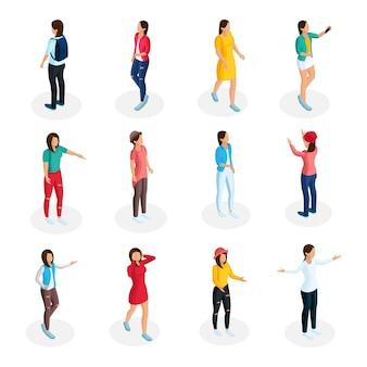 Izometryczna kolekcja nastolatków z młodymi dziewczynami w swobodnym stroju i stojącymi w różnych pozach na białym tle