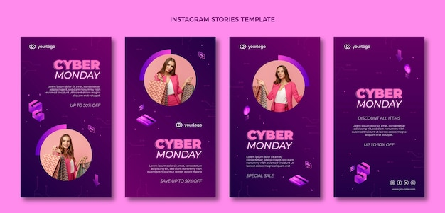 Izometryczna kolekcja opowiadań o cyber poniedziałek na instagramie