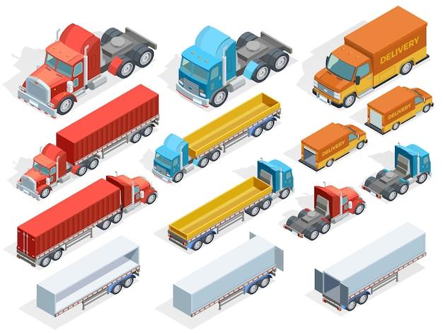 Izometryczna kolekcja pojazdów