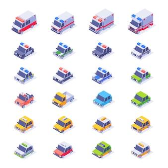 Izometryczna kolekcja samochodów. inny typ izometrycznego zestawu samochodowego. karetka pogotowia, taksówka, sedan, samochód dostawczy, samochód policyjny, jeep