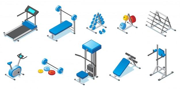 Izometryczna kolekcja sprzętu fitness z hantlami na bieżni, sztangą, rowerem treningowym i różnymi trenerami na białym tle