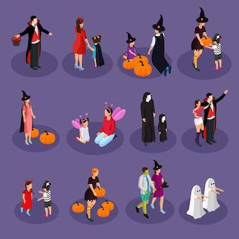 Izometryczna kolekcja świąteczna halloween z ludźmi w kapeluszach i kostiumach wampira czarownicy duch wróżki diabła na białym tle