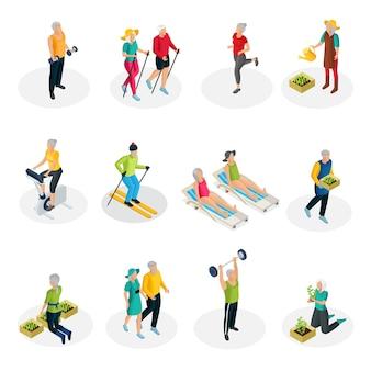 Izometryczna kolekcja życia emeryta z ćwiczeniami sportowymi na nartach, spacery w ogrodzie i wakacje na plaży na białym tle