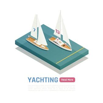 Izometryczna kolorowa ilustracja żeglarstwa z dwoma jachtami rywalizującymi o zwycięstwo na wodzie