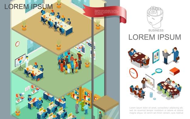 Izometryczna kolorowa kompozycja biznesowa z ludźmi biorącymi udział w prezentacji spotkania biznesowego i szkoleniach na różnych piętrach ilustracji