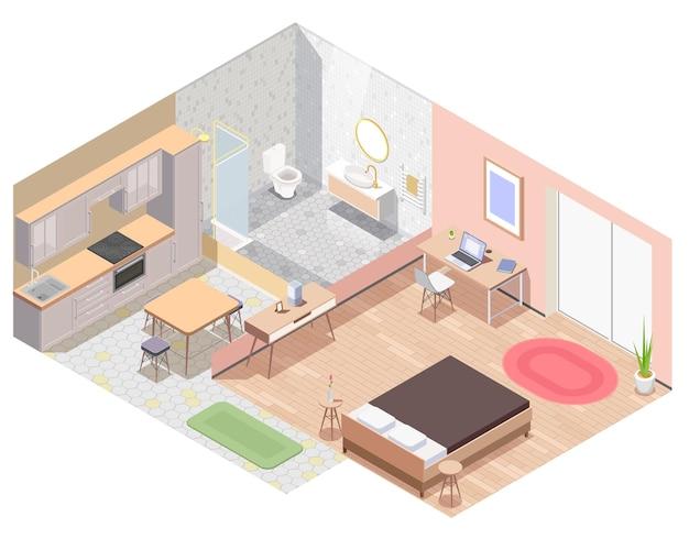 Izometryczna kolorowa kompozycja mebli do wnętrz z ilustracją mebli