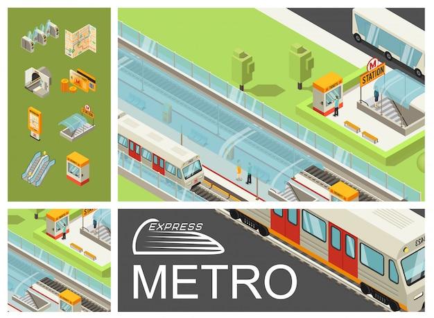 Izometryczna kolorowa kompozycja metra z pasażerami stacji metra pociągi budka biletowa autobusowa karta podróżna mapa schody ruchome tunel kołowrotki tablica informacyjna