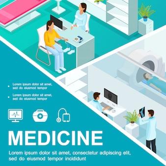 Izometryczna kolorowa kompozycja opieki zdrowotnej z konsultacją lekarską i rezonansem magnetycznym