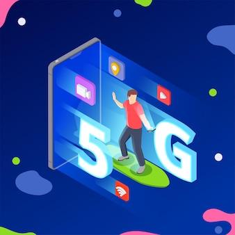 Izometryczna kompozycja 5g szybkiego internetu z ludzkim charakterem na łyżwach i smartfonem z elementami 5g