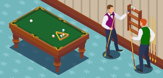 Izometryczna kompozycja bilardowa z dwoma męskimi postaciami graczy w pokoju zabaw z meblami