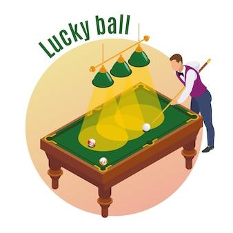 Izometryczna kompozycja bilardowa z męską postacią gracza, której celem jest kij, aby trafić szczęśliwą piłkę do kieszeni