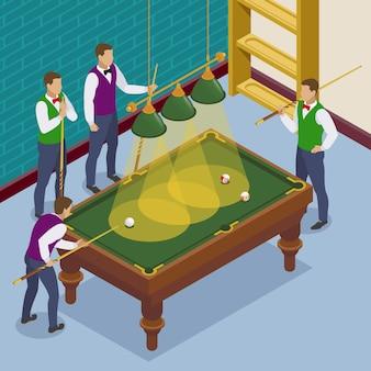 Izometryczna kompozycja bilardowa z widokiem sytuacji w grze z pomieszczeniami do gry i postaciami ludzkimi graczy