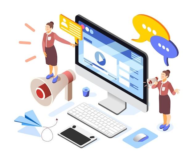 Izometryczna kompozycja budowania marki z zespołem kobiet-przedsiębiorców głośnik na ekranie komputera z reklamą internetową