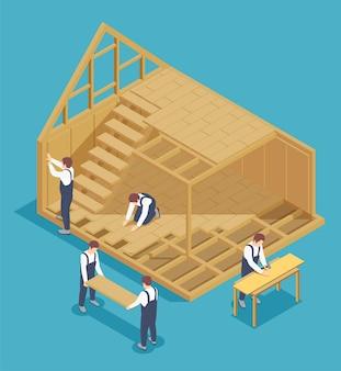 Izometryczna kompozycja budownictwa modułowego z postaciami pracowników i widokiem mieszkalnego domu w budowie