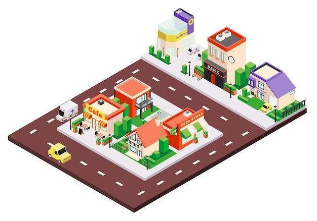 Izometryczna kompozycja budynków miejskich z kolorowymi domami miejskimi i prywatnymi ze znakami i samochodami na ulicy
