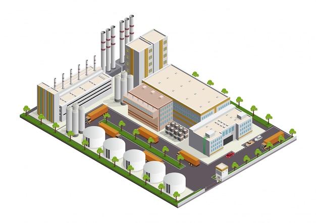 Izometryczna kompozycja budynków przemysłowych z widokiem na obiekty