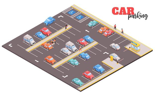 Izometryczna kompozycja centrum handlowego parkingowego z widokiem na kwadratowy obszar ze zdjęciami samochodów i ludzi