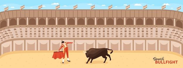 Izometryczna kompozycja corridy walk byków z panoramicznym widokiem na arenę walki z postacią toreadora i byka