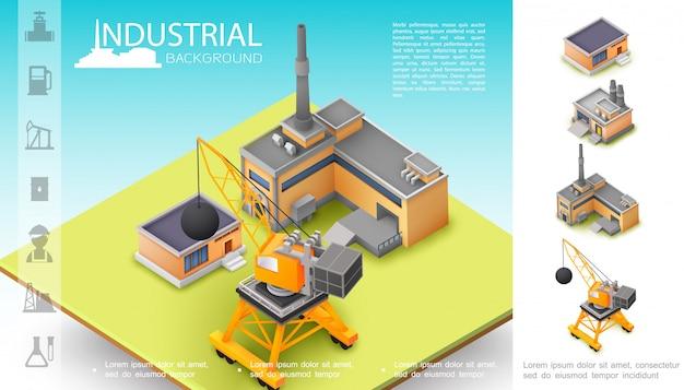 Izometryczna kompozycja do produkcji przemysłowej z magazynem dźwigów budowlanych i ikonami przemysłu naftowego