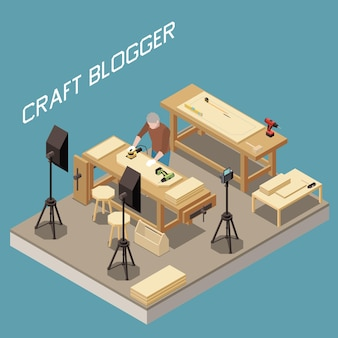 Izometryczna kompozycja do vlogowania z blogerem rzemieślniczym nagrywającym film o wytwarzaniu produktów z drewna
