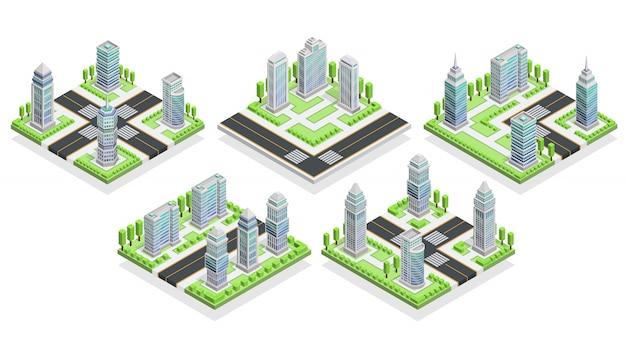 Izometryczna kompozycja domów miejskich