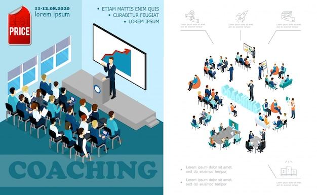 Izometryczna kompozycja edukacji biznesowej z wykładowcą przemawiającym do audytorium podczas burzy mózgów seminarium trenerskiego personelu konferencja online