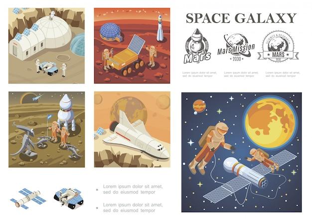 Izometryczna kompozycja eksploracji kosmosu z wahadłowcem, satelitą kolonizującym marsa, astronauci łazika księżycowego spotykający się z kosmonautami kosmonautami w etykietach galaktyk kosmicznych