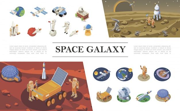 Izometryczna kompozycja elementów kosmicznych z rakietami statki kosmiczne promy astronauci spotykający się z kosmitami kolonia kosmiczna ufo łazik księżycowy różne planety