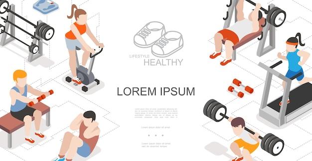 Izometryczna kompozycja fitness i sport z kobietami biegnącymi na bieżni, jeżdżącymi na rowerach stacjonarnych, mężczyznami podnoszącymi sztangę i wykonującymi ćwiczenia fizyczne