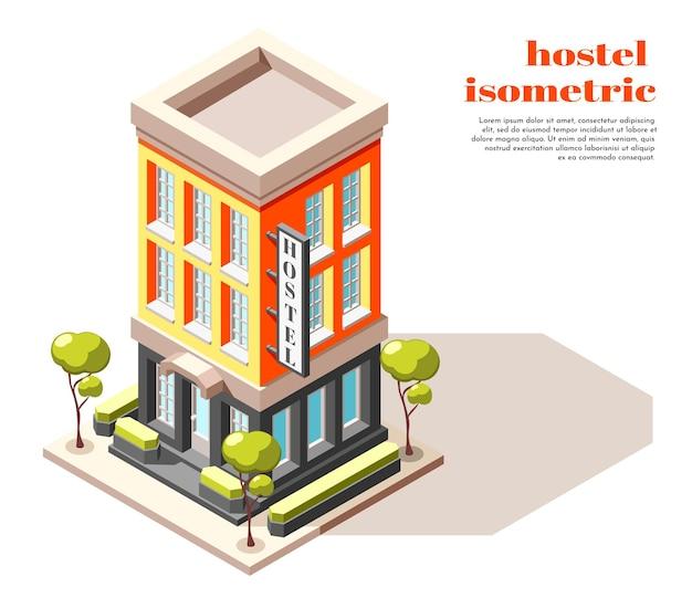 Izometryczna kompozycja hostelu nowoczesnego wielopiętrowego budynku z szyldami drzew i ilustracją infrastruktury miejskiej