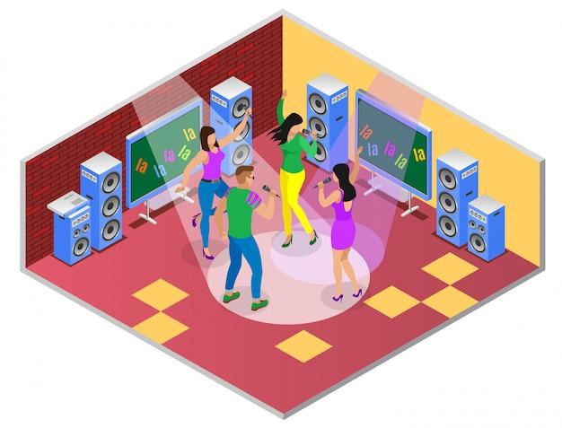 Izometryczna kompozycja karaoke z zestawem telewizyjnym z ilustracją wnętrza pokoju i grupą młodych ludzi śpiewających piosenki