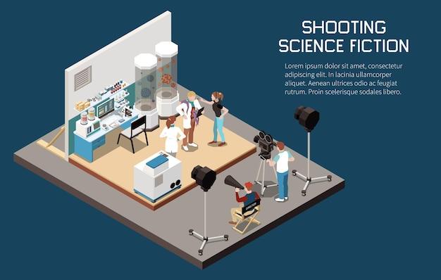 Izometryczna kompozycja kinowa z widokiem miejsca filmowania z edytowalnym tekstem i ludźmi z lekkimi kamerami