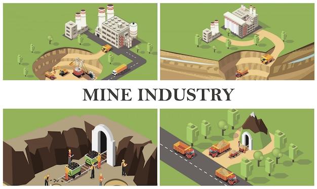 Izometryczna kompozycja kolorowa przemysłu wydobywczego z fabrykami maszyn przemysłowych do kopania kamieniołomów i transportu surowców, górników wydobywających kamienie szlachetne