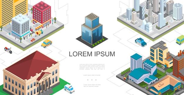 Izometryczna kompozycja krajobrazu miasta z nowoczesnymi budynkami wieżowce bank fabryka taksówki pogotowie policyjne autobusy motocykl ludzie chodzą na ulicy ilustracja