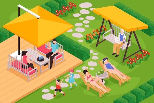 Izometryczna kompozycja mebli ogrodowych z zewnętrzną scenerią podwórkową i ludźmi w różnym wieku dobrze się bawiącymi