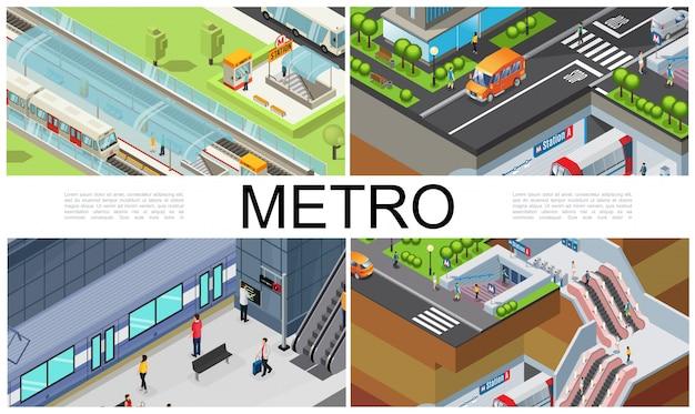 Izometryczna kompozycja metra miejskiego z pociągami stacja metra platforma podziemna bilet wstępu budka dla pasażerów schodów ruchomych samochody poruszające się po drodze
