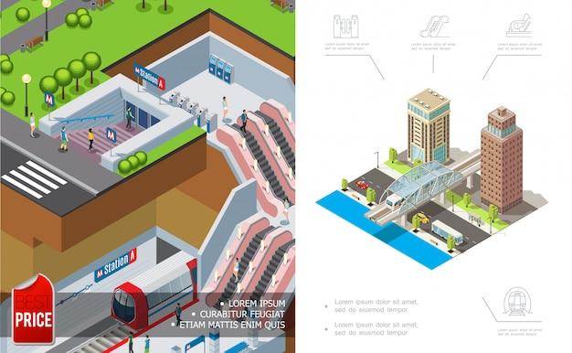 Izometryczna kompozycja metra miejskiego z podziemnymi nowoczesnymi budynkami i pojazdami poruszającymi się po drogach
