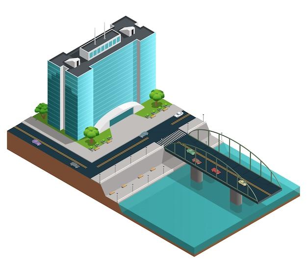Izometryczna kompozycja miasta z wielopiętrowym nowoczesnym budynkiem na brzegu kanału