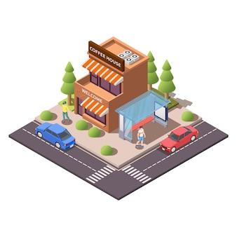 Izometryczna kompozycja nowoczesnego miasta z budynkiem ilustracji kawiarni