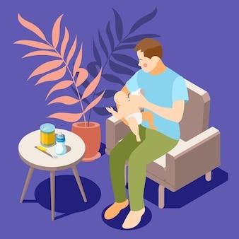 Izometryczna kompozycja opieki nad niemowlęciem z ojcem siedzącym wygodnie w fotelu, ciesząc się ilustracją do karmienia butelką dziecka