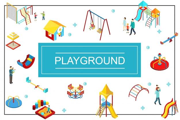 Izometryczna kompozycja placu zabaw dla dzieci z huśtawkami, piaskownica do zabawy, zjeżdżalnie kolorowe bary rodziców i dzieci