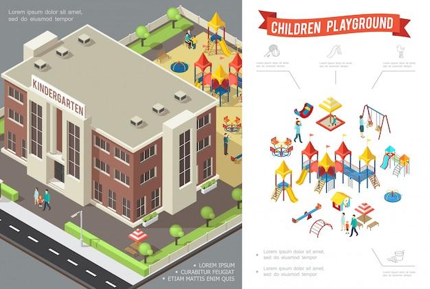 Izometryczna kompozycja placu zabaw dla dzieci ze zjeżdżalniami w budynku przedszkola huśtawki piaskownica domek do zabawy piaskownica dzieci i rodzice