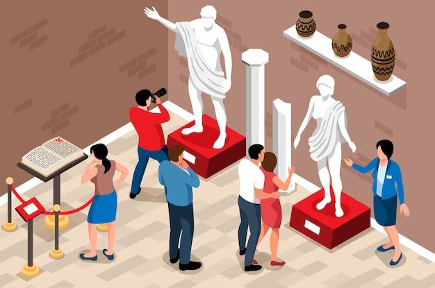 Izometryczna kompozycja pozioma muzeum historycznego z widokiem na pomieszczenie z przewodnikiem i zwiedzającymi z artefaktami