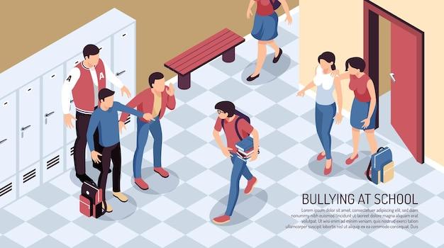 Izometryczna kompozycja pozioma nastolatka z widokiem na przejście szkolne