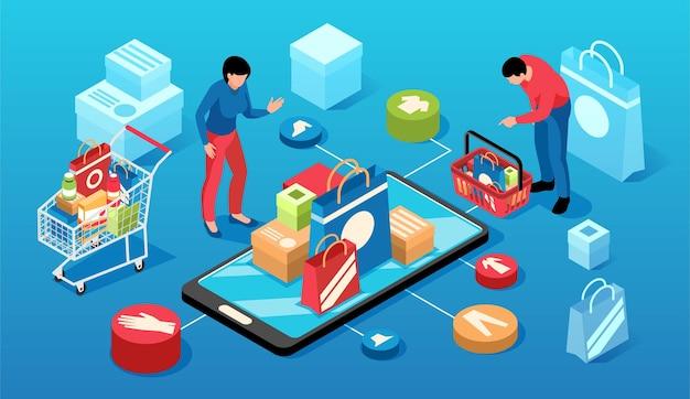 Izometryczna kompozycja pozioma zakupów online z okrągłymi piktogramami towarów wózki na zakupy smartfon i ludzie