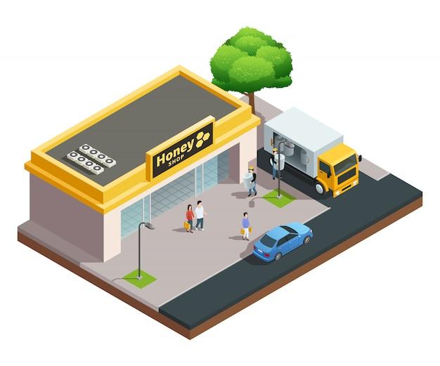 Izometryczna kompozycja pszczelarska pasieki budynku sklepu z miodem z odwiedzającymi