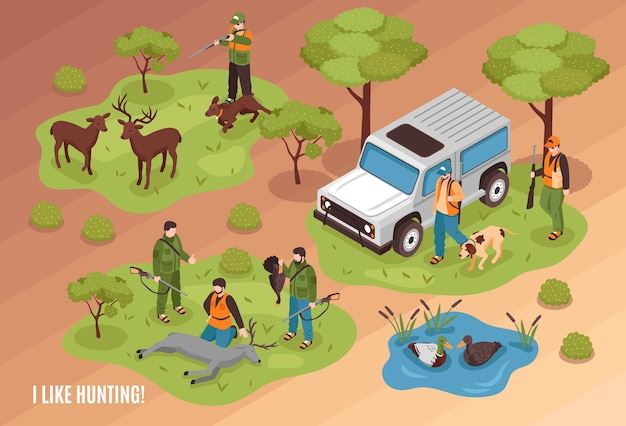 Izometryczna kompozycja sceny myśliwskiej z zabitymi zwierzętami łownymi, psami jeepami i strzelcem celującym w jelenie